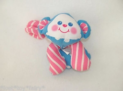 Blue Fisher Price Monkey with Pink Striped Tail + Arms, Sunflower Shirt