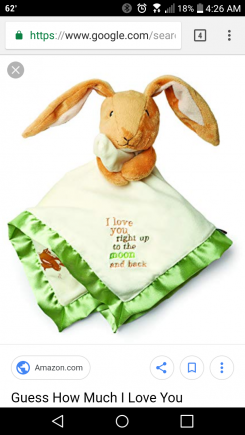 Brown floppy eared bunny attached to small blanket with green edges