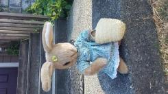Bunny in dress with straw basket