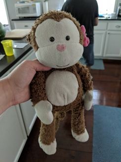 Monkey with pink bow