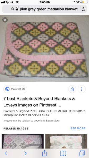 Blankets & Beyond pink, green, gray Dámask printed blanket