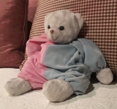 White Bear with 1/2 blue and 1/2 pink outfit