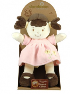 Dandelion Doll with Brunette Piggie Tails and Pink Dress