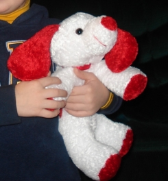 Bean stuffed White and red dog  from around 2007