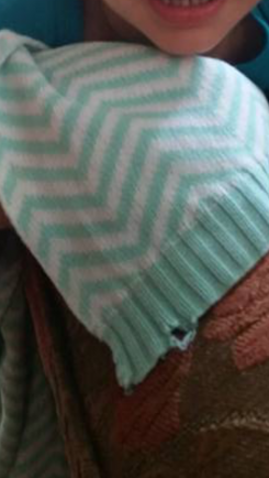 aqua and white sweater knit chevron blanket