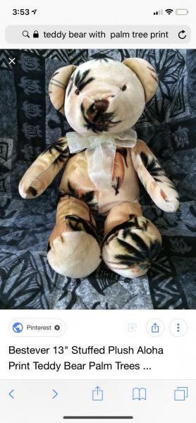 """Bestever plush 13"""" aloha print teddy bear"""