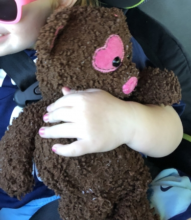 Brown Plush Bear with a pink heart on left eye, pink heart on right foot and chest.
