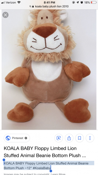 "KOALA BABY Floppy Limbed Lion Stuffed Animal Beanie Bottom Plush ~12"" #KoalaBaby"