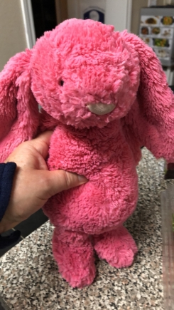 Bright Pink Bunny with long floppy ears. Jellycat brand.