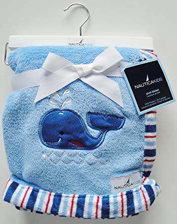 Nautica kids blue blanket with whale