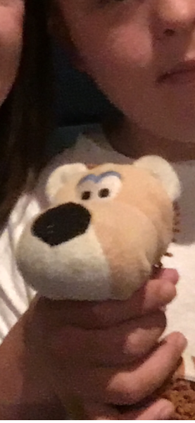 Tan stuffed dog with short ears and white muzzle
