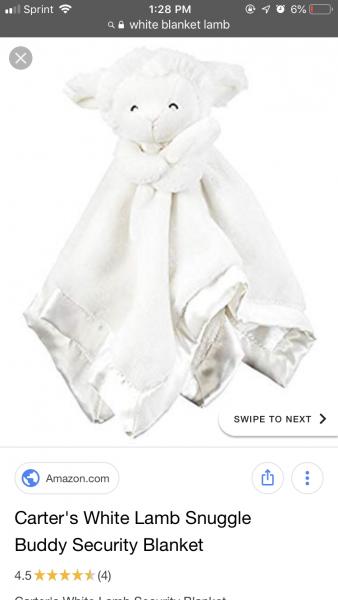 White lamb head with blanket body, satin trim, satin underside