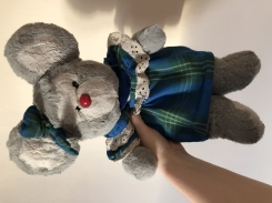 Gray mouse with blue plaid/tartan dress & matching ear bow. Squeaky ear. Commonwealth?